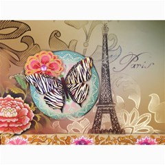 Fuschia Flowers Butterfly Eiffel Tower Vintage Paris Fashion Canvas 18  x 24  (Unframed)