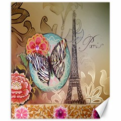 Fuschia Flowers Butterfly Eiffel Tower Vintage Paris Fashion Canvas 20  x 24  (Unframed)