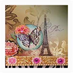 Fuschia Flowers Butterfly Eiffel Tower Vintage Paris Fashion Glasses Cloth (Medium)