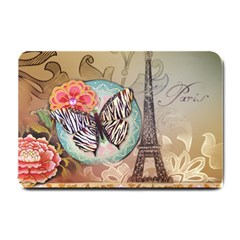 Fuschia Flowers Butterfly Eiffel Tower Vintage Paris Fashion Small Door Mat