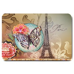 Fuschia Flowers Butterfly Eiffel Tower Vintage Paris Fashion Large Door Mat