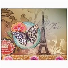 Fuschia Flowers Butterfly Eiffel Tower Vintage Paris Fashion Canvas 11  x 14  (Unframed)