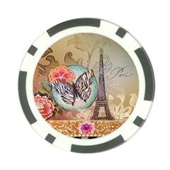 Fuschia Flowers Butterfly Eiffel Tower Vintage Paris Fashion Poker Chip