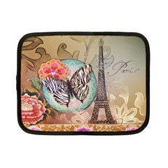 Fuschia Flowers Butterfly Eiffel Tower Vintage Paris Fashion Netbook Case (Small)