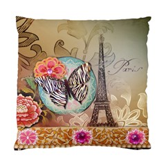 Fuschia Flowers Butterfly Eiffel Tower Vintage Paris Fashion Cushion Case (Single Sided)