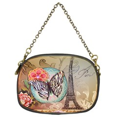 Fuschia Flowers Butterfly Eiffel Tower Vintage Paris Fashion Chain Purse (two Sided)