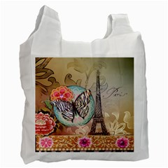 Fuschia Flowers Butterfly Eiffel Tower Vintage Paris Fashion Recycle Bag (Two Sides)