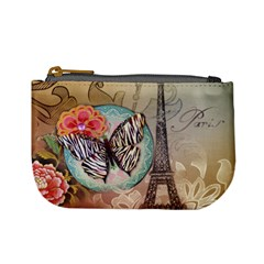 Fuschia Flowers Butterfly Eiffel Tower Vintage Paris Fashion Coin Change Purse