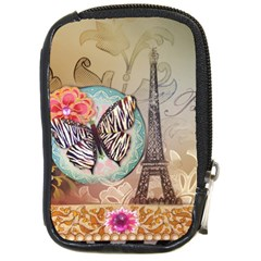 Fuschia Flowers Butterfly Eiffel Tower Vintage Paris Fashion Compact Camera Leather Case