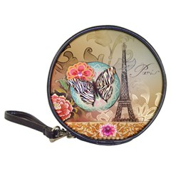 Fuschia Flowers Butterfly Eiffel Tower Vintage Paris Fashion Cd Wallet