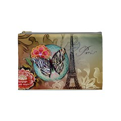 Fuschia Flowers Butterfly Eiffel Tower Vintage Paris Fashion Cosmetic Bag (Medium)