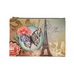 Fuschia Flowers Butterfly Eiffel Tower Vintage Paris Fashion Cosmetic Bag (Large)