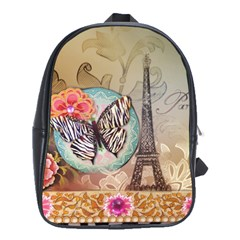 Fuschia Flowers Butterfly Eiffel Tower Vintage Paris Fashion School Bag (Large)