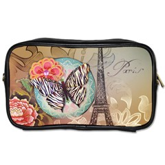 Fuschia Flowers Butterfly Eiffel Tower Vintage Paris Fashion Travel Toiletry Bag (Two Sides)