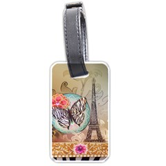 Fuschia Flowers Butterfly Eiffel Tower Vintage Paris Fashion Luggage Tag (Two Sides)