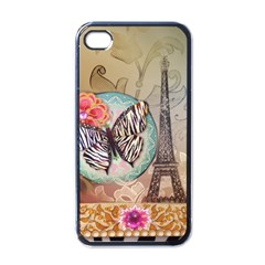 Fuschia Flowers Butterfly Eiffel Tower Vintage Paris Fashion Apple iPhone 4 Case (Black)