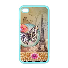 Fuschia Flowers Butterfly Eiffel Tower Vintage Paris Fashion Apple Iphone 4 Case (color)