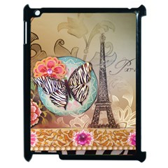 Fuschia Flowers Butterfly Eiffel Tower Vintage Paris Fashion Apple Ipad 2 Case (black)