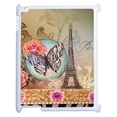 Fuschia Flowers Butterfly Eiffel Tower Vintage Paris Fashion Apple iPad 2 Case (White)