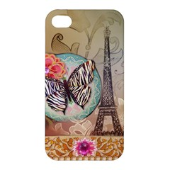 Fuschia Flowers Butterfly Eiffel Tower Vintage Paris Fashion Apple iPhone 4/4S Hardshell Case