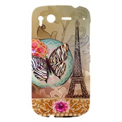 Fuschia Flowers Butterfly Eiffel Tower Vintage Paris Fashion HTC Desire S Hardshell Case