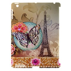 Fuschia Flowers Butterfly Eiffel Tower Vintage Paris Fashion Apple Ipad 3/4 Hardshell Case (compatible With Smart Cover)