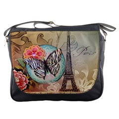 Fuschia Flowers Butterfly Eiffel Tower Vintage Paris Fashion Messenger Bag