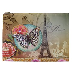 Fuschia Flowers Butterfly Eiffel Tower Vintage Paris Fashion Cosmetic Bag (XXL)