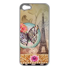 Fuschia Flowers Butterfly Eiffel Tower Vintage Paris Fashion Apple iPhone 5 Case (Silver)