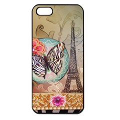 Fuschia Flowers Butterfly Eiffel Tower Vintage Paris Fashion Apple Iphone 5 Seamless Case (black)