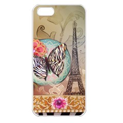 Fuschia Flowers Butterfly Eiffel Tower Vintage Paris Fashion Apple iPhone 5 Seamless Case (White)