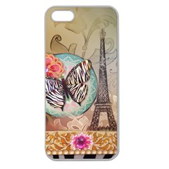 Fuschia Flowers Butterfly Eiffel Tower Vintage Paris Fashion Apple Seamless Iphone 5 Case (clear)