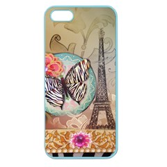 Fuschia Flowers Butterfly Eiffel Tower Vintage Paris Fashion Apple Seamless iPhone 5 Case (Color)