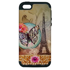 Fuschia Flowers Butterfly Eiffel Tower Vintage Paris Fashion Apple Iphone 5 Hardshell Case (pc+silicone)