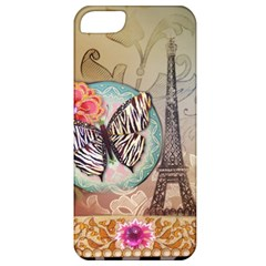 Fuschia Flowers Butterfly Eiffel Tower Vintage Paris Fashion Apple iPhone 5 Classic Hardshell Case