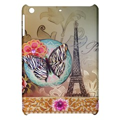 Fuschia Flowers Butterfly Eiffel Tower Vintage Paris Fashion Apple iPad Mini Hardshell Case