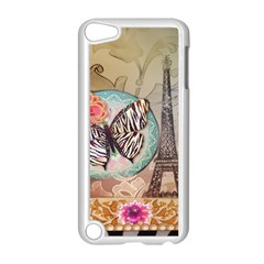 Fuschia Flowers Butterfly Eiffel Tower Vintage Paris Fashion Apple iPod Touch 5 Case (White)