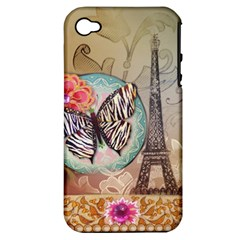 Fuschia Flowers Butterfly Eiffel Tower Vintage Paris Fashion Apple iPhone 4/4S Hardshell Case (PC+Silicone)