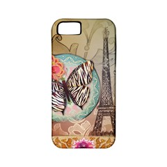 Fuschia Flowers Butterfly Eiffel Tower Vintage Paris Fashion Apple iPhone 5 Classic Hardshell Case (PC+Silicone)