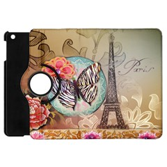 Fuschia Flowers Butterfly Eiffel Tower Vintage Paris Fashion Apple iPad Mini Flip 360 Case