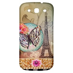 Fuschia Flowers Butterfly Eiffel Tower Vintage Paris Fashion Samsung Galaxy S3 S III Classic Hardshell Back Case