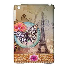 Fuschia Flowers Butterfly Eiffel Tower Vintage Paris Fashion Apple iPad Mini Hardshell Case (Compatible with Smart Cover)