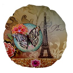 Fuschia Flowers Butterfly Eiffel Tower Vintage Paris Fashion 18  Premium Round Cushion