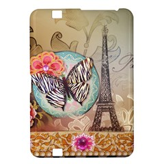 Fuschia Flowers Butterfly Eiffel Tower Vintage Paris Fashion Kindle Fire HD 8.9  Hardshell Case