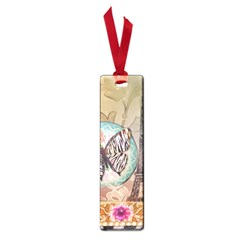 Fuschia Flowers Butterfly Eiffel Tower Vintage Paris Fashion Small Bookmark
