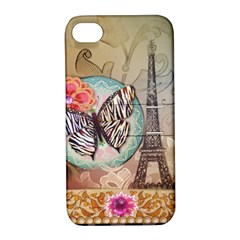 Fuschia Flowers Butterfly Eiffel Tower Vintage Paris Fashion Apple Iphone 4/4s Hardshell Case With Stand