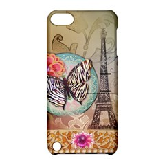 Fuschia Flowers Butterfly Eiffel Tower Vintage Paris Fashion Apple iPod Touch 5 Hardshell Case with Stand