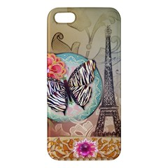 Fuschia Flowers Butterfly Eiffel Tower Vintage Paris Fashion Iphone 5 Premium Hardshell Case