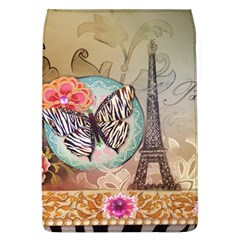 Fuschia Flowers Butterfly Eiffel Tower Vintage Paris Fashion Removable Flap Cover (Large)