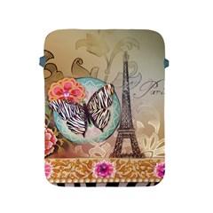 Fuschia Flowers Butterfly Eiffel Tower Vintage Paris Fashion Apple iPad 2/3/4 Protective Soft Case